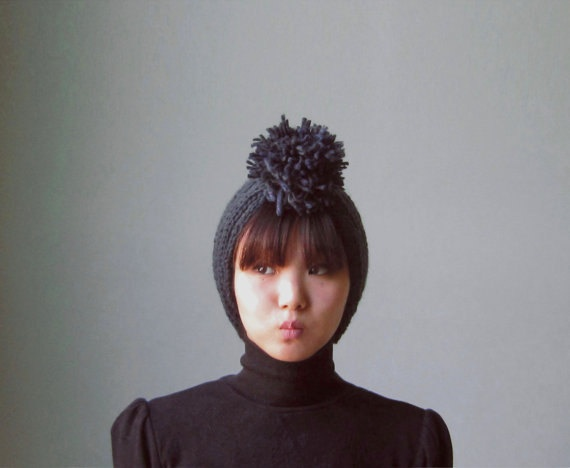 pom pom knit headband