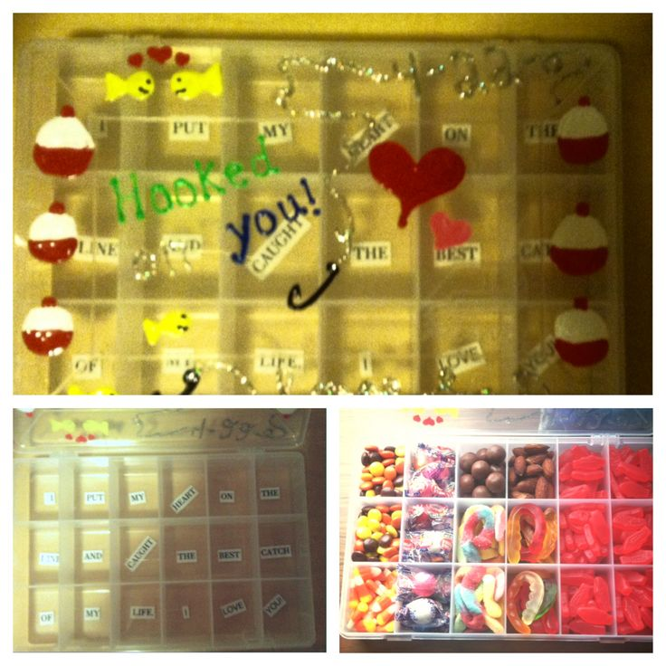 For our 6 month hooked on you candy tackle box that i for Loves fish box menu