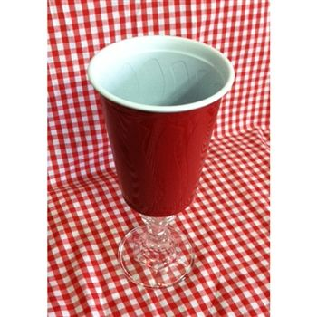 Let's have a party with this fun red solo cup mounted on a glass wine stem.