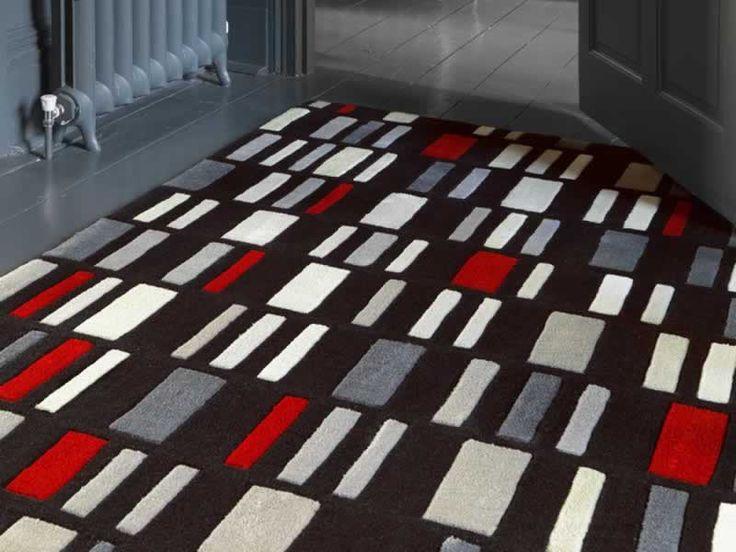 Harlequin Blocks Grey Red Rug Living Room Pinterest