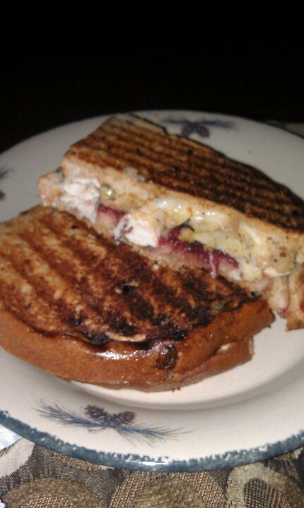 ... thanksgiving leftover cranberry sauce, stuffing, turkey and swiss