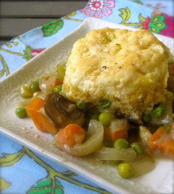 Caramelized Mushroom and Veggie Pot Pie with Parmesan Biscuits-could ...