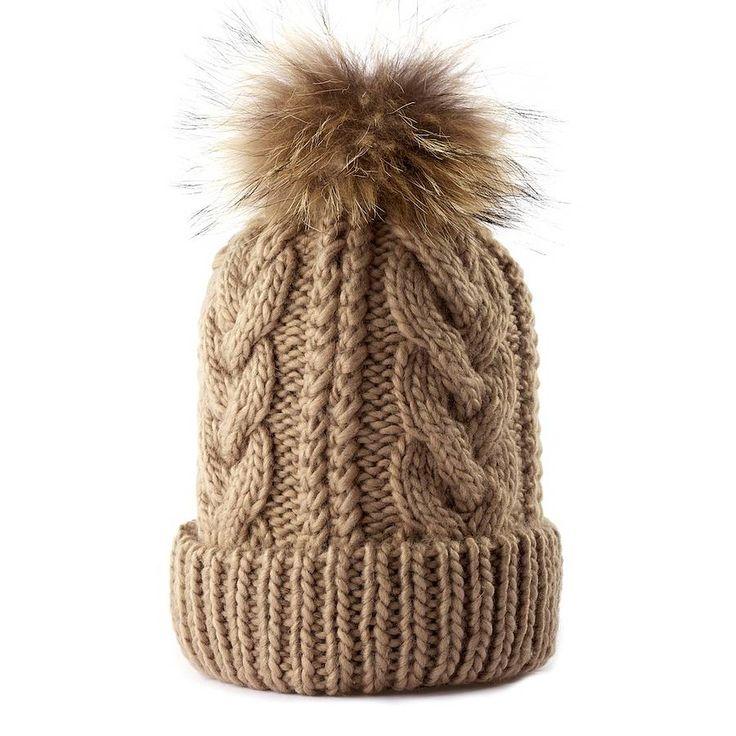 Cable Bobble Hat Knitting Pattern : Cable Knit Fur Pom Pom Bobble Hat