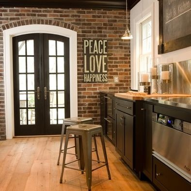 Brick wall and black trim for the home pinterest for Black wall interior