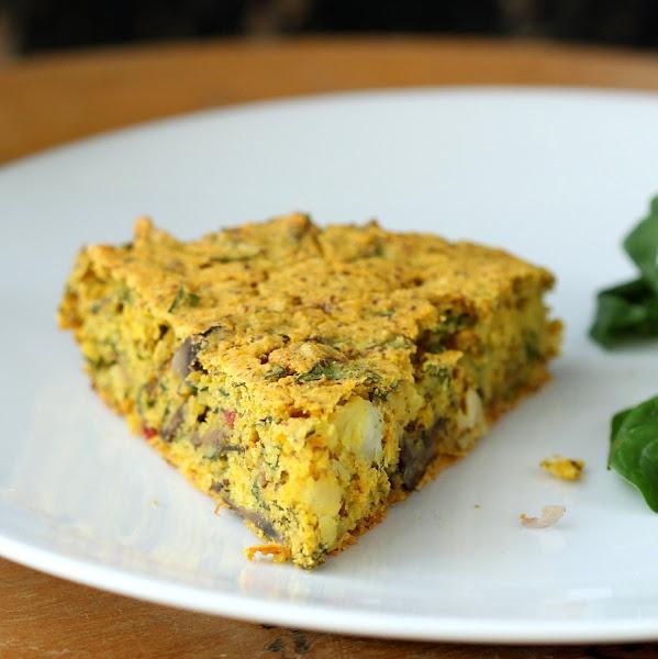 Soy-free Mushroom Chard Shallot Almond-Feta cheese Frittata