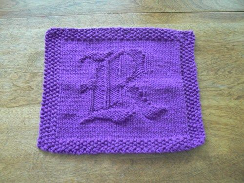 Knitted Dishcloth Pattern With Letters : Hand Knit Old English Letter R Purple Picture Dish Cloth ...