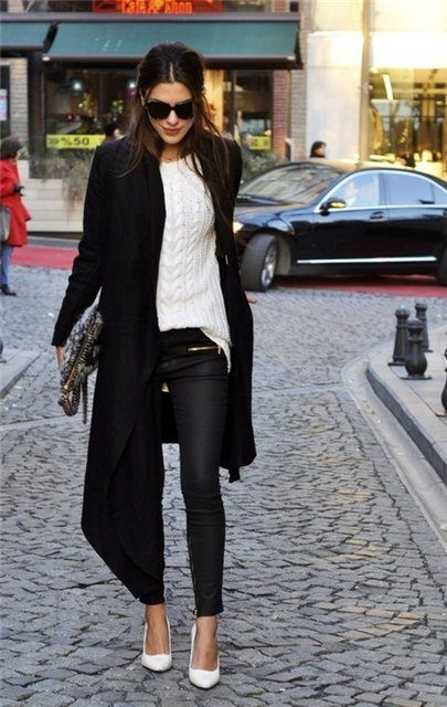 Long black cardigan - texture + black/white equals winner.