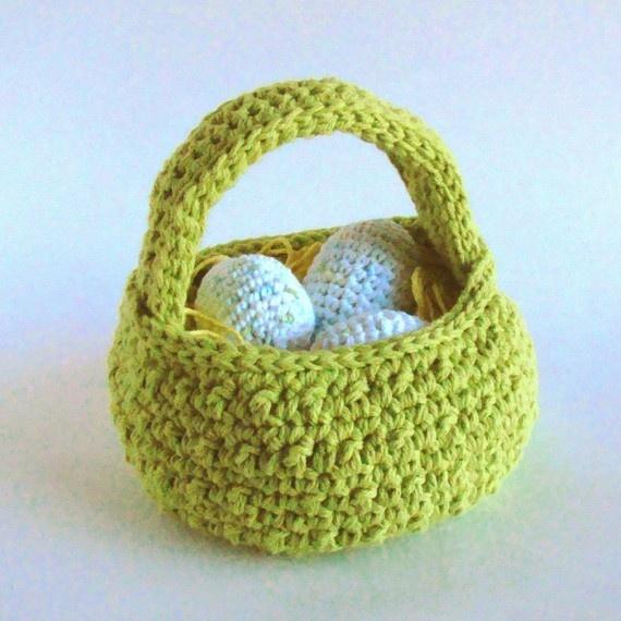 Crochet Egg Basket : Easter Egg Basket Crochet Pattern PDF INSTANT DOWNLOAD