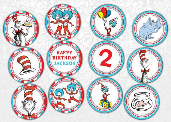 Dr Seuss Cupcake Toppers on Etsy, $3.50