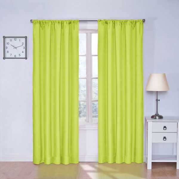 Lime green blackout curtains for my hot upstairs in the summer