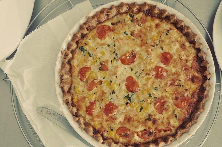 Tomato, basil, corn, cheese quiche... no recipe, but looks yum