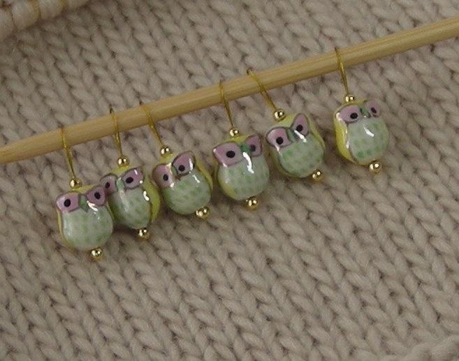 Knitting Using Stitch Markers : Owl Knitting Stitch Markers - snag free - ceramic owl beads - yellow