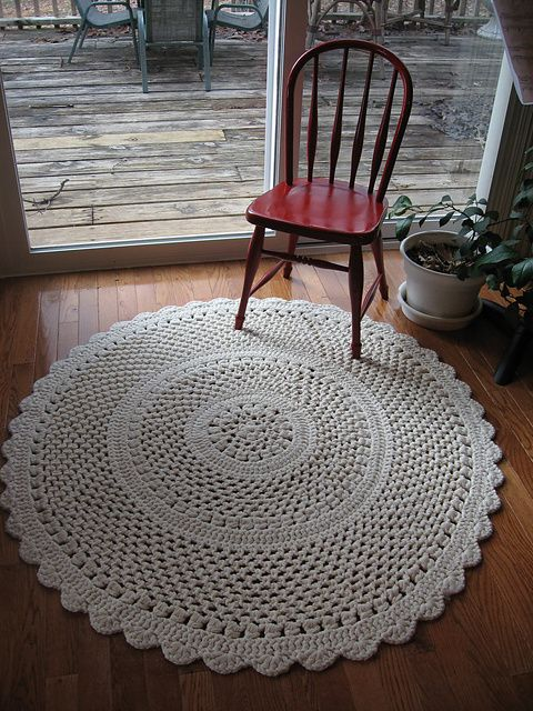 Lacy Throw Rug Pattern by Terry Kimbrough Published in Leisure Arts #102640, Crochet Collection - 4' diameter lacy throw rug. (Crocheted with 3 strands of worsted and size 10 mm hook)