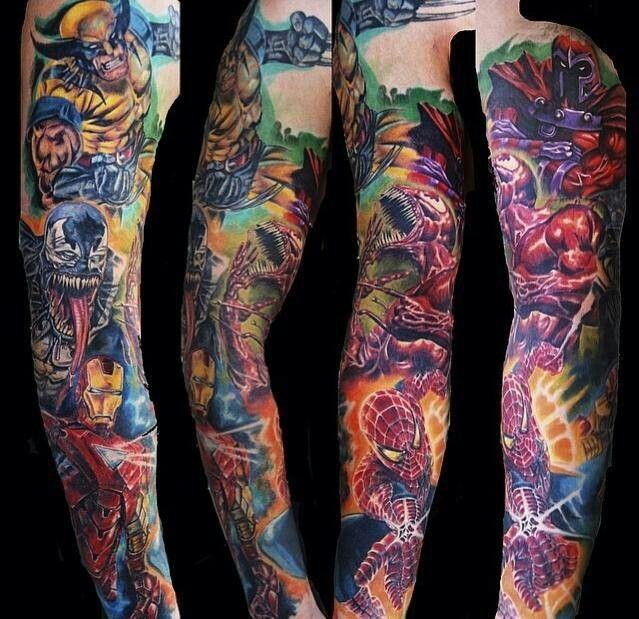 Superhero sleeve tattoo tattoo ideas pinterest for Superhero tattoo sleeve