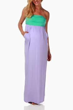 Lavender Colorblock Strapless Maternity Maxi Dress
