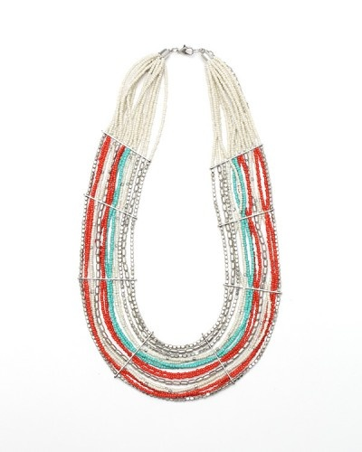 """Shine Necklace   Colorful statement necklace, with multi-beaded strands, hammered metal bars, and bib shape. $32.00  2"""" width 22"""" length"""
