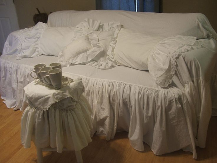 Shabby Chic Sofa Slipcover Throw Large