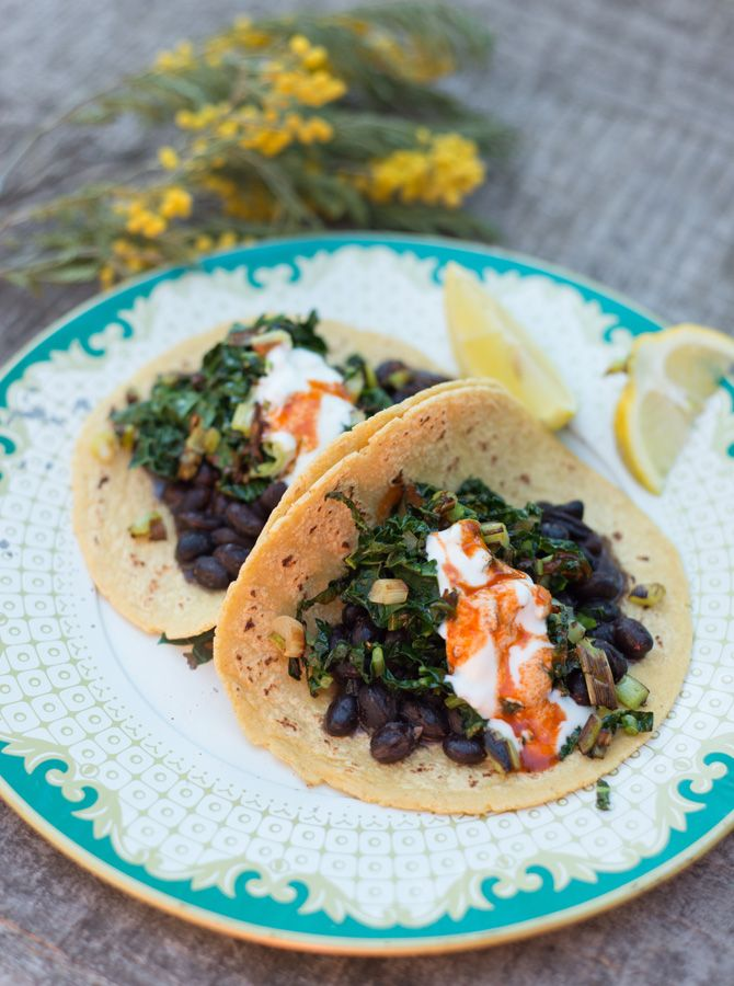 garlic and kale in my csa box lately so i thought why not make tacos ...