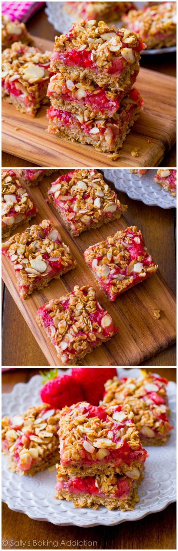 Healthy Strawberry Oat Squares | sallysbakingaddiction | #gf # ...