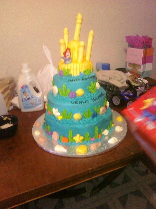 Little mermaid tiered birthday cake my cake decorating pinterest