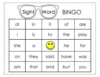 words word sight kindergarten sight  printable bingo