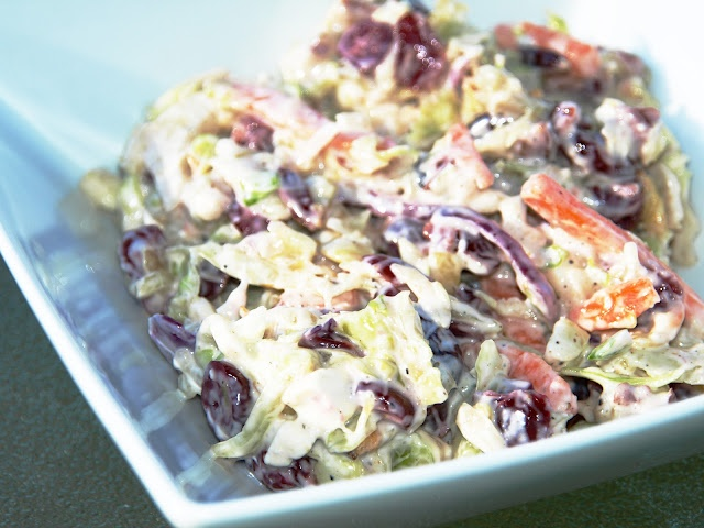 Bacon Blue Cheese cole slaw. It is not sweet and is the best slaw ...