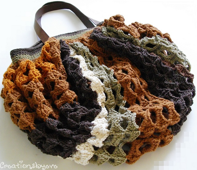 Crochet Hobo Bag Pattern : Striped crochet hobo market bag pattern by Evelyn Siatra