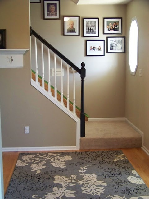 Two toned railing for the home pinterest - Staircase small space paint ...