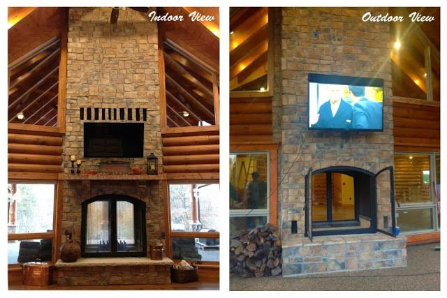 Pin by shara capper on outdoor living pinterest for Two sided fireplace indoor outdoor