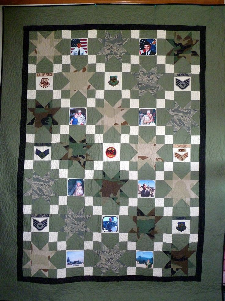 Military Memory Quilt made from uniforms