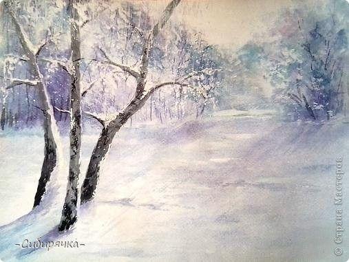 Рисуем зимнее утро поэтапно