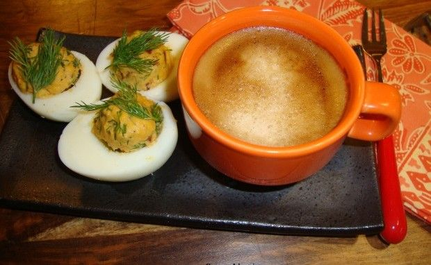 Deviled Eggs with Sun Dried Tomatoes and Fresh Dill Posted by Shabnam