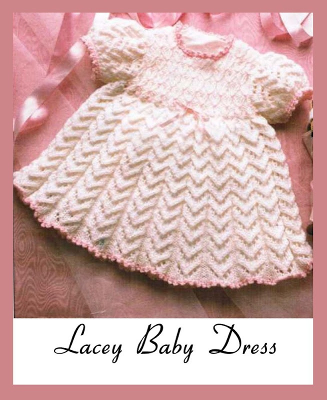 Knitted Baby Dresses Free Patterns : Lacey Baby Dress free knit pattern Knitting Pinterest