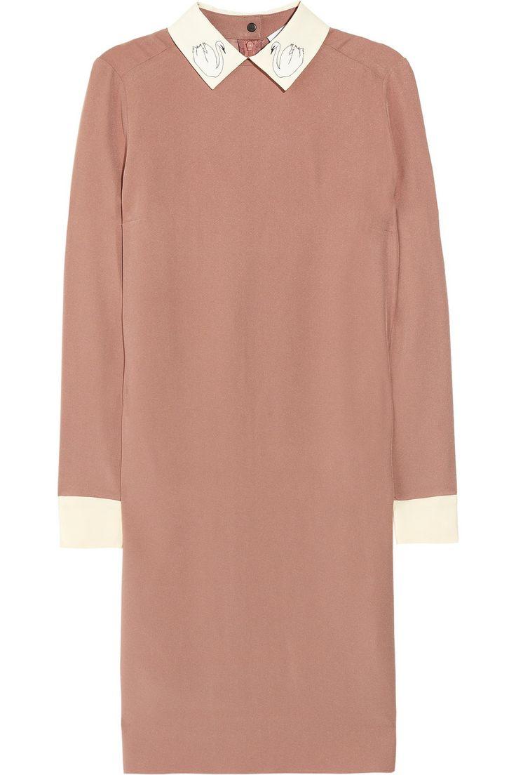 We love dressing like nanna's!! Victoria, Victoria Beckham|Swan collar crepe dress|NET-A-PORTER.COM