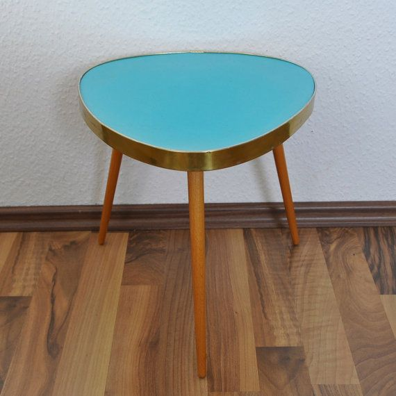 Mid Century Modern Plant Stand. Turquoise Laminate. East Germany. 196 ...