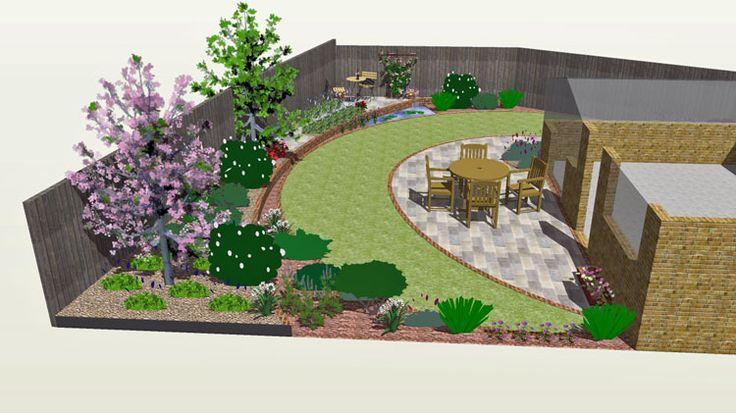 Pin by imane mikou on landscape plans pinterest L shaped garden designs images