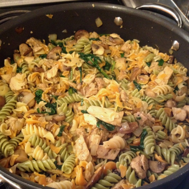 This was delish!!! Spinach Portobello Marsala with veggie noodles. 1/2 ...