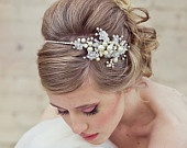 Wedding Hair, Rhinestone tiara with flowers and ivory pearls, wedding tiara