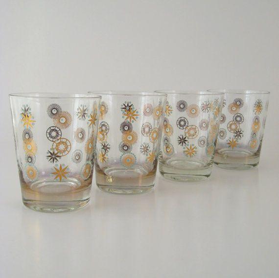 Vintage atomic starburst glass tumblers set of 4 mid century modern - Starburst glassware ...