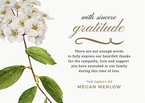 Bereavement Thank You Card & Sympathy Thank You Note Wording