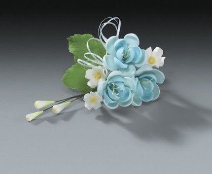 Pear Blue Gum Paste Flower Sprays For Weddings And Cake Decorating