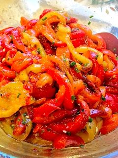 One of my favorite things to eat: roasted bell peppers. Usually I just ...