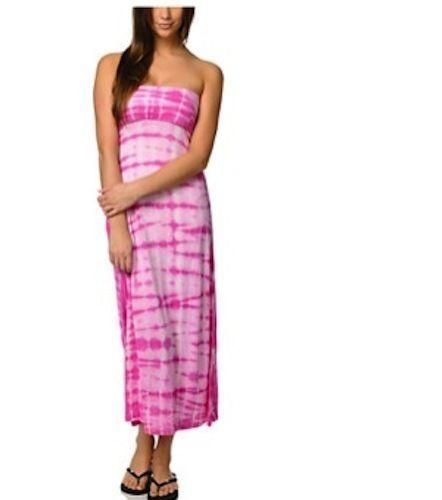 billabong the pink tie dye strapless maxi dress skirt