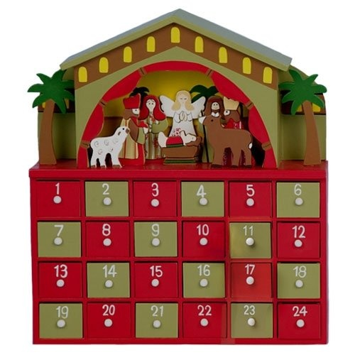 Wooden Nativity Advent Calendar Seasons Greetings