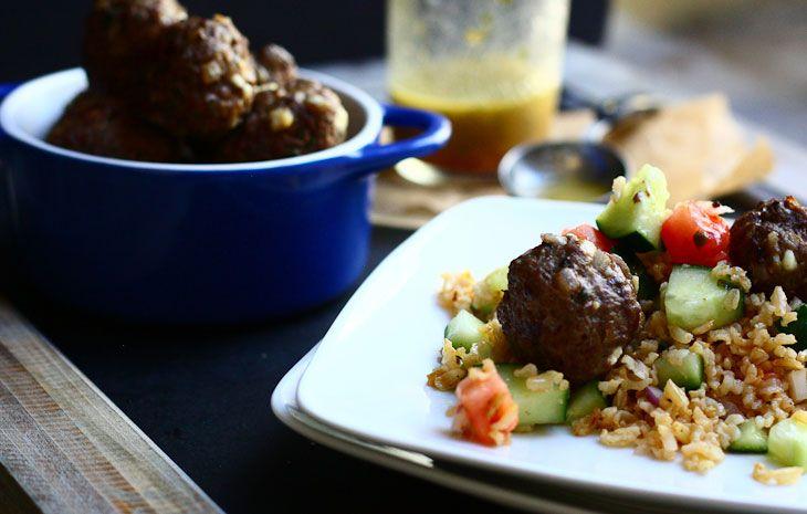 Greek Red Pepper And Feta Turkey Meatball Salad Recipe ...