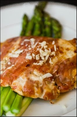 Prosciutto wrapped chicken with asparagus