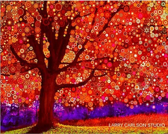 Orange autumn tree photograph Oak Tree by LarryCarlsonStudio, $75.00
