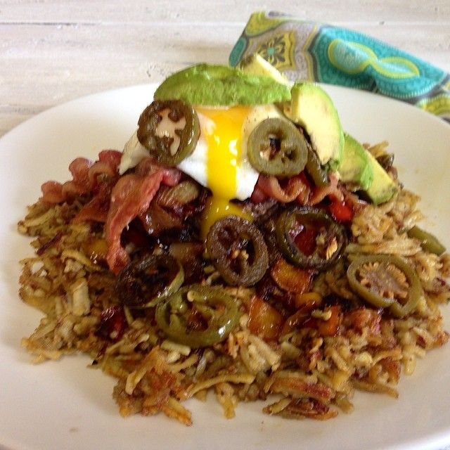 the Paleo Everything Burger! Purple sweet potato hash fried in bacon ...