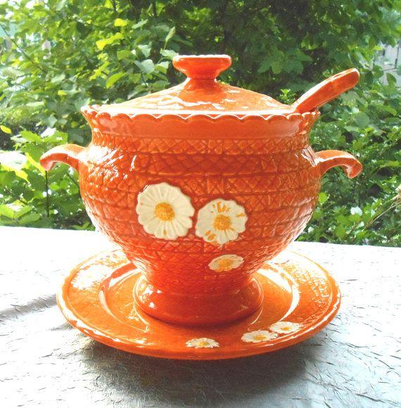 Daisy Kitchen Decor: 1970s Orange Daisy Kitchen Decor, Ceramic Soup Tureen