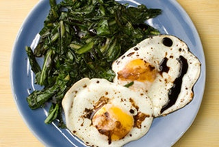 Wilted Greens with Balsamic Fried Eggs http://www.chow.com/recipes ...